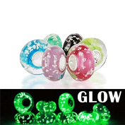 Bling Jewellery Glow in the Dark Murano Glass Beads Sterling Silver Fits Pandora
