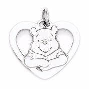 Sterling Silver Disney Winnie the Pooh Heart Charm - JewelryWeb