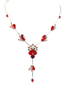 Necklace Earrings Set Gorgeous Red Crystal Floral Bridal Wedding Party Prom