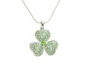 Green Rhinestone Crystal Shamrock 3 Leaf Clover Necklace & Earrings Set C15