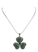 Green Rhinestone Crystal Shamrock 3 Leaf Clover Necklace & Earrings Set H154