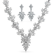 Bling Jewellery Marquise CZ Flower Leaf Bridal Necklace Dangle Earrings Set Rhodium Plated