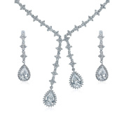 Bling Jewellery Bridal Clover Teardrop CZ Double Lariat Necklace and Earrings Set Rhodium Plated