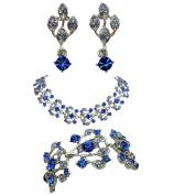 Blue Choker Necklace Bracelet Earrings Set Bridal Wedding Party Prom C42