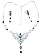 Gorgeous Navy Blue Necklace Earrings Set For Bridal Wedding Party Prom R14