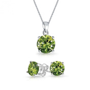 Bling Jewellery Simulated Peridot CZ August Birthstone Set 7mm Sterling Silver