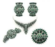 Emerald Colour Green Necklace Earrings Ring Bracelet Total 5 Pcs Set G121
