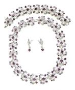 Purple Choker Necklace Earring & Bracelet Set For Bridal Wedding Party G101