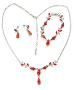Red Necklace Bracelet Earrings Set Bridesmaid Flower Girl Wedding Party H53