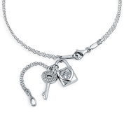 Bling Jewellery Sterling Silver CZ Lock and Key Charms Anklet Ankle Bracelet 25cm