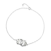 Bling Jewellery 925 Sterling Silver CZ Handcuff Anklet Obsession Secret Shades 23cm