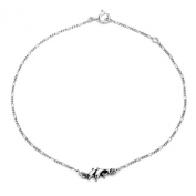 Bling Jewellery Sterling Silver Nautical Dolphin Ankle Bracelet Figaro Chain 25cm