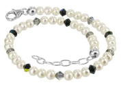 925 Sterling Silver. Crystal Elements Freshwater Pearl and Black AB s 23cm - 25cm Anklet