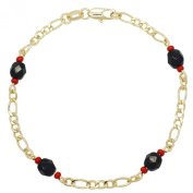 Gold Plated 14k Simulated Azabache Anklet 25cm Protection Evil Eye Figaro Chain