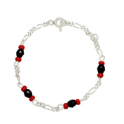 Silver Plated Red Black Simulated Azabache BRACELET PROTECTION Newborn Kids Baby 13cm