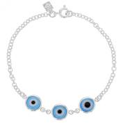 Silver Plated Turkish EVIL EYE Blue Protection Amulet Bracelet 15cm
