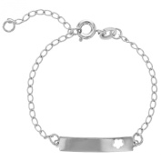 Silver Plated Flower Bracelet Tag ID Adjustable Baby Girl 14cm Kids