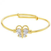 14k Yellow Gold Plated White Crystal Adjustable Butterfly Bangle Bracelet