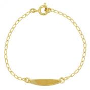 Gold Plated 18k Identification Tag ID Children's Baby Infants Kids Bracelet 13cm