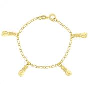 Gold Plated 18k Bracelet Amulet Hand Figa Protection Children Boy Girl 14cm Kids