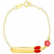 Pink Flower Red Ladybug Tag ID Identification Girl Bracelet 18k Gold Plated 15cm