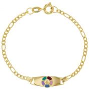 Gold Plated 18k Flower Enamel Multicolor Rainbow Bracelet Tag ID Kids Girl 13cm