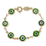 18k Gold Plated Green Evil Eye Turkish Protection Children Bracelet 11cm
