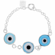 Silver Plated Turkish Blue EVIL EYE Protection Amulet Bracelet 11cm