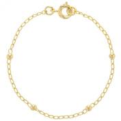 Gold Plated 18k Little Thin Ball Chain Bracelet Girl Kids Infants Children 14cm