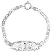 Silver Plated Tag ABC Chain Infants Kids Baby Newborn Bracelet Gift Birth 11cm