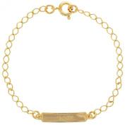 18k Yellow Gold Plated Baby Print Tag Identification Newborn Unisex Bracelet 14cm