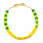 Gold Plated 18k Green Yellow Orula Beads Bracelet Children Kids Unisex 14cm