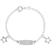 Silver Plated Plain Tag ID Identification Bracelet Charm Star Infants Kids Girl