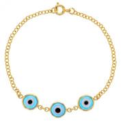 18k Yellow Gold Plated Blue Turkish EVIL EYES Protection Bracelet 15cm