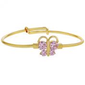 14k Gold Plated Pink Crystal Butterfly Adjustable Bangle Bracelet Baby Kids