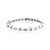Bling Jewellery Baby Bangle Bracelet Enamel CZ Pave Hearts 11cm Rhodium Plated