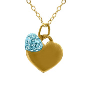 Crystaluxe Girl's Double Heart Pendant with. Crystals in 14K Gold Over Sterling Silver