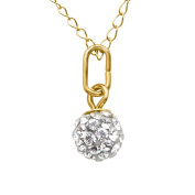 Girl's Glitter Ball Pendant with. Crystal in 10K Gold