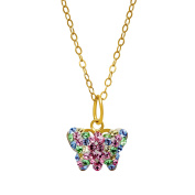 Crystaluxe Butterfly Pendant with. Crystals in 14K Gold over Sterling Silver