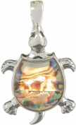 Wearable Art By Roman Abalone Turtle Pendant One Size Silver tone