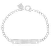 Silver Plated Plain Identification Tag ID Bracelet Children's 13cm