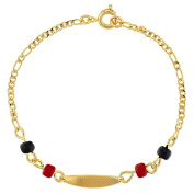 18k Yellow Gold Plated Energy Evil Eye Protection Identification Tag Kids Bracelet 15cm