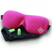 Pink Sleep Mask by Bedtime Bliss® - Contoured & Comfortable With Moldex® Ear Plug Set. Includes Carry Pouch for Eye Mask and Ear Plugs - Great for Travel, Shift Work & Meditation