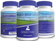 Desiccated Beef Liver Capsules, Grass-Fed, Ultra Pure from Pasture-Raised Cows. No Hormones or GMO. Natural Energy and Workout Boost from Iron, Amino Acids, Protein and Vitamins. 120 Caps 750 Mg.
