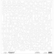 Chippers Monochromatic Chipboard Alphabet Stickers 30cm x 30cm -Lily White