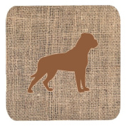 Set of 4 Rottweiler Burlap and Brown Foam Coasters