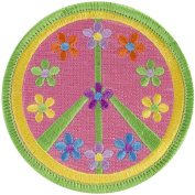 Tees & Novelties PATCH-2057 Patch for Everyone Iron-On Appliques, Flower Peace Sign Multi-Coloured