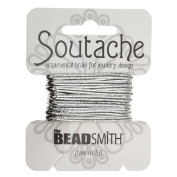 BeadSmith Soutache Braided Cord 3mm Wide - Shiny Metallic Silver