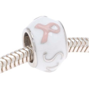 Silver Tone White Enamel Pink Breast Cancer Ribbon 'Survivor' Message Bead - European Style Large Hole