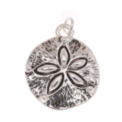 Antiqued Silver Plated Ocean Sand Dollar Charm 19mm